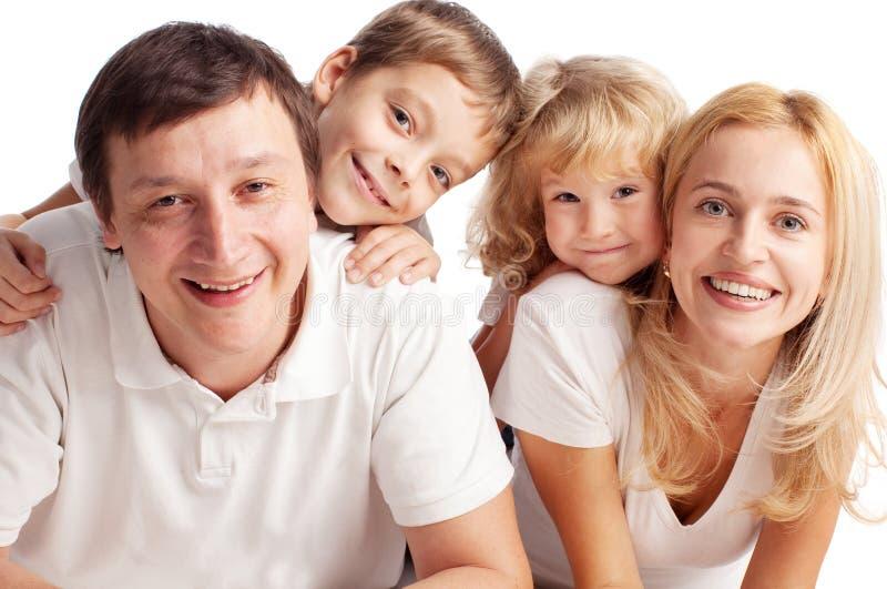 母亲、父亲、儿子和女儿 图库摄影
