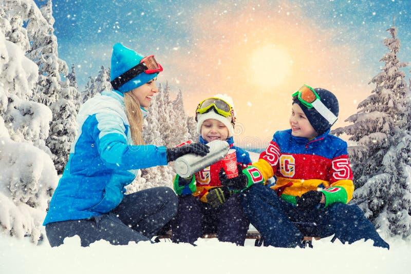 母亲和两个儿子在sledging以后喝热的茶在一个多雪的森林里 一起饮料热的茶 家庭圣诞节vacatio的冬天乐趣 图库摄影