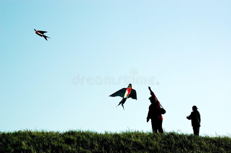 母亲和儿子飞行风筝 库存照片