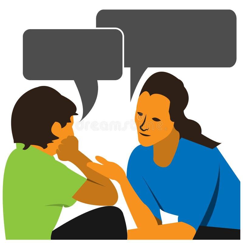 母亲和儿童谈话 也corel凹道例证向量 库存例证