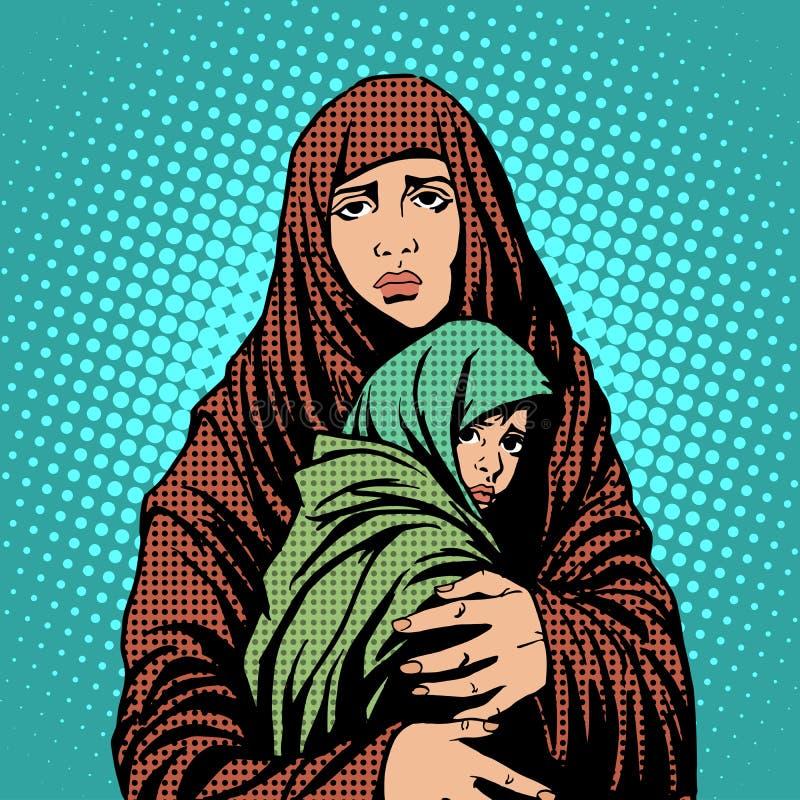 母亲和儿童难民外国人移民 库存例证