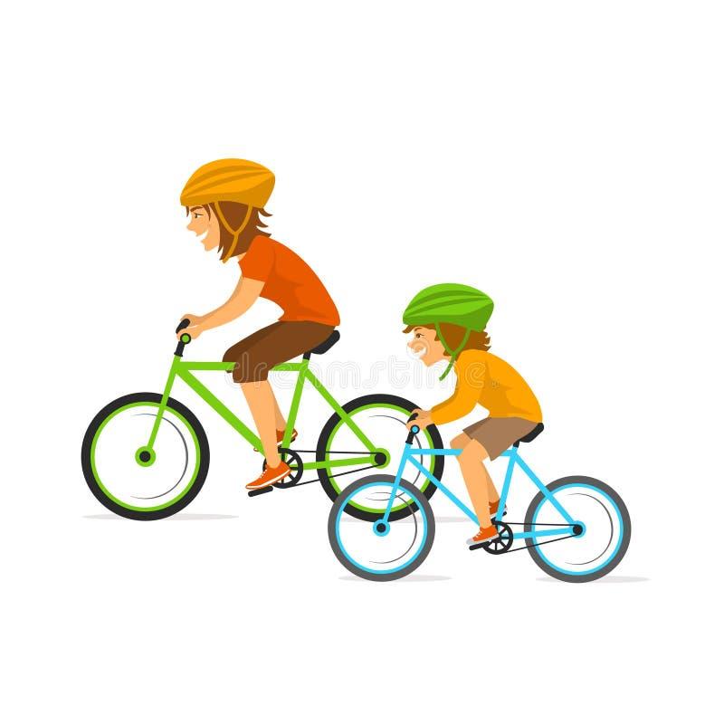 母亲和女儿、骑马一起骑自行车的妇女和孩子,做体育的健康活跃家庭行使 库存例证