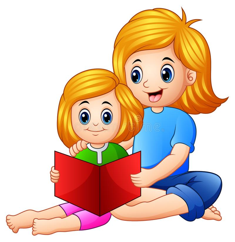 母亲和女儿一起阅读书在白色背景 库存例证