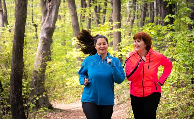 母亲和女儿佩带的运动服和赛跑在森林里 库存照片
