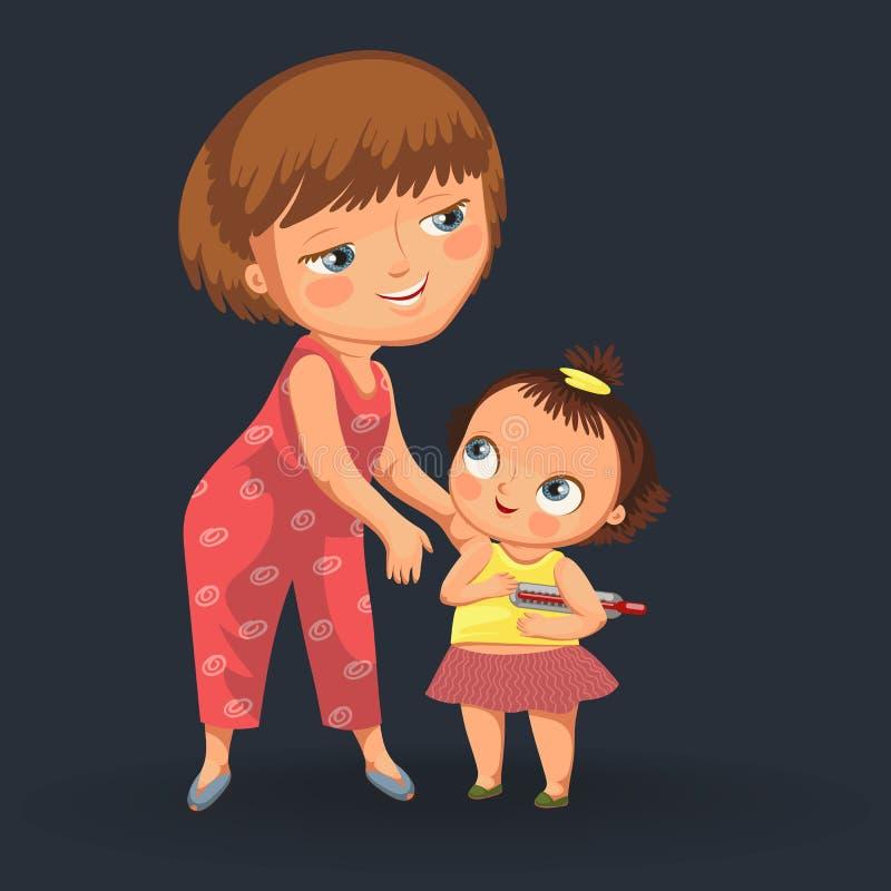 母亲和女儿医生任命海报的 库存例证