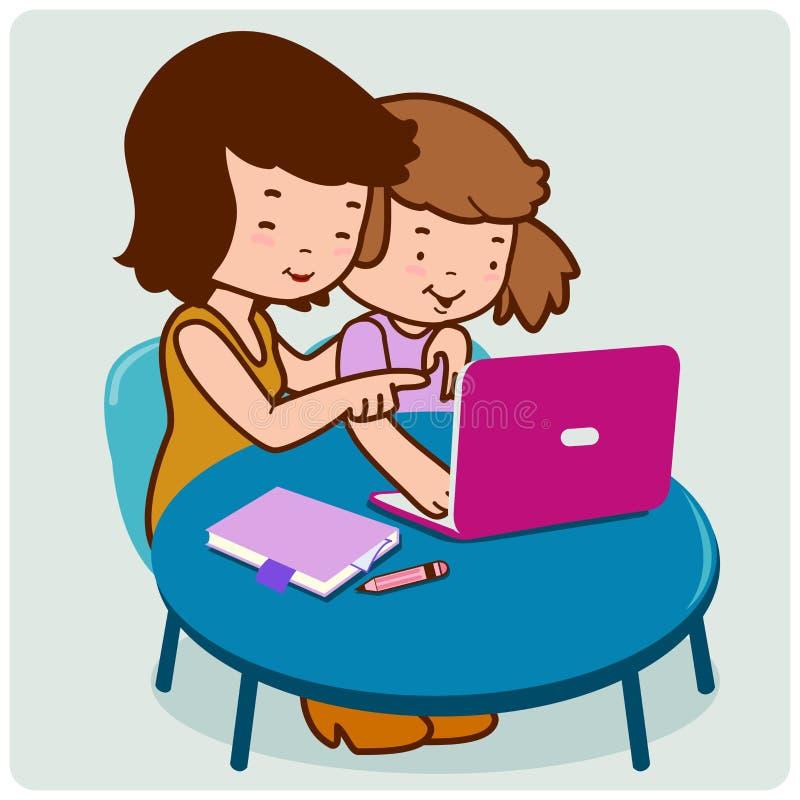 母亲和女儿在计算机上 向量例证