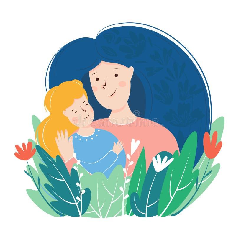 母亲和女儿拥抱 关于母爱和关心的母亲节卡片 r 库存例证