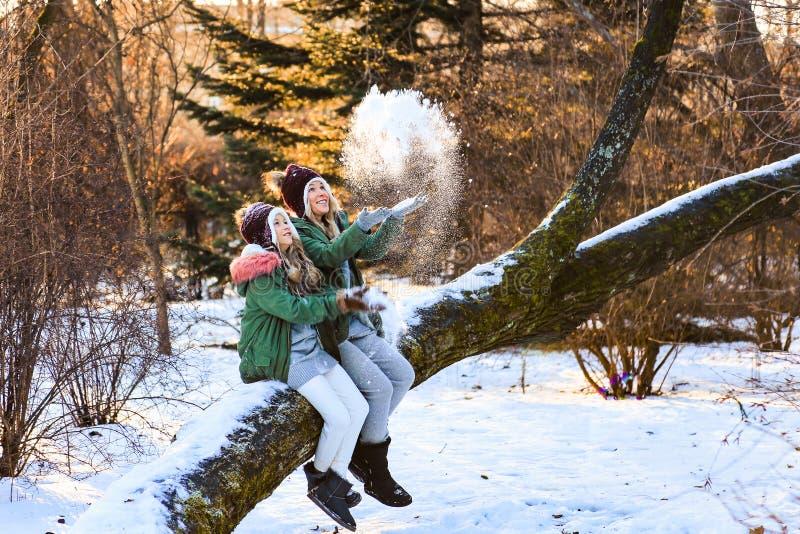母亲和女儿有乐趣,使用的,投掷的雪和笑在室外冬天的木头 免版税图库摄影