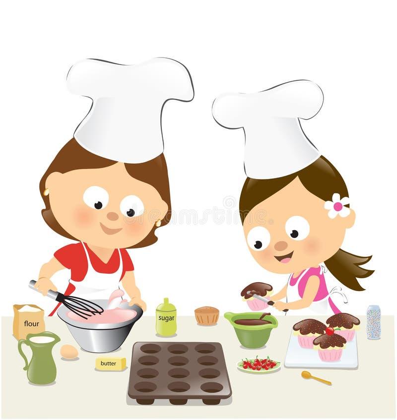 母亲和女儿烘烤杯形蛋糕 皇族释放例证
