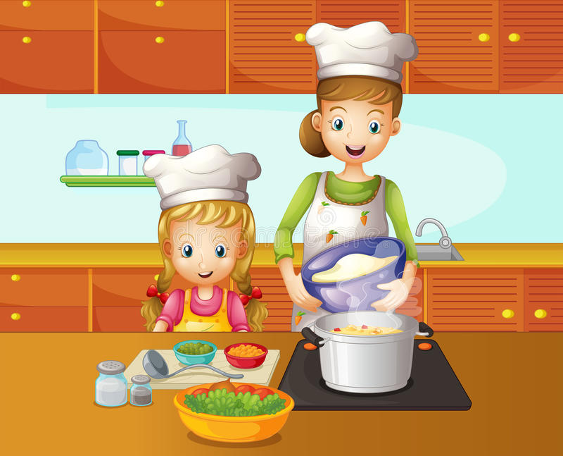 母亲和女儿烹调 皇族释放例证