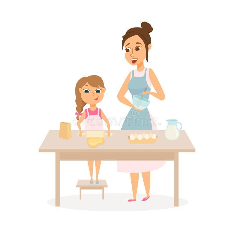 母亲和女儿烹调 库存例证