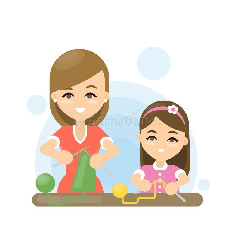 母亲和女儿编织 家庭活动 做衣裳 id. 99705591 | dreamstime.