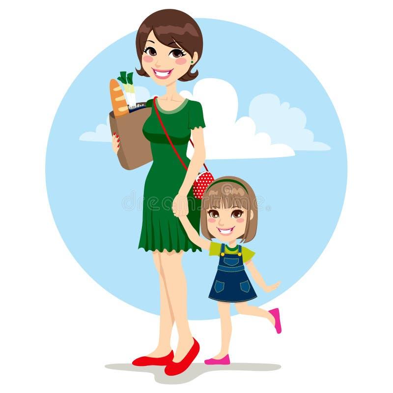 母亲和女儿购物 向量例证