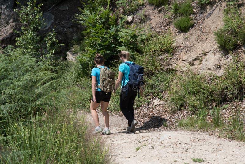 母亲和女儿走,当远足在山在Th期间时 免版税库存图片
