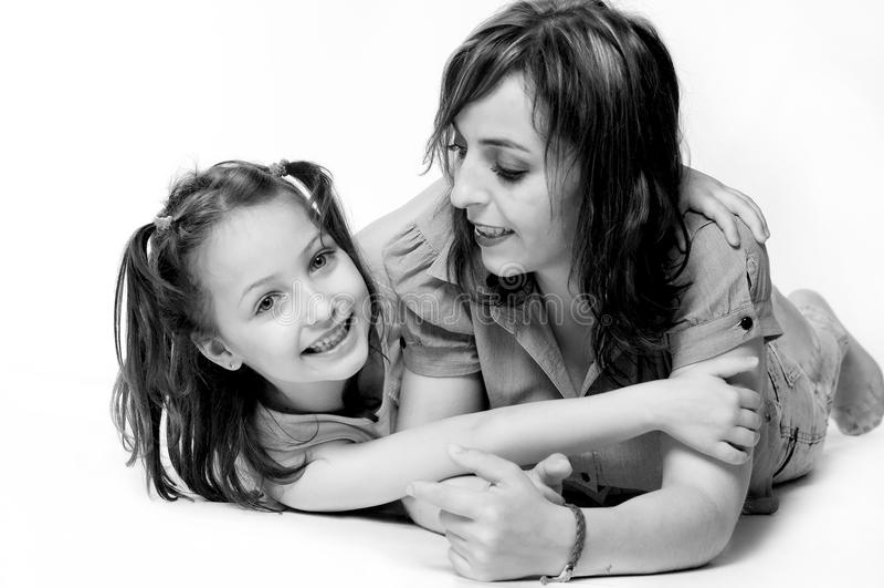 母亲和女儿画象 库存图片