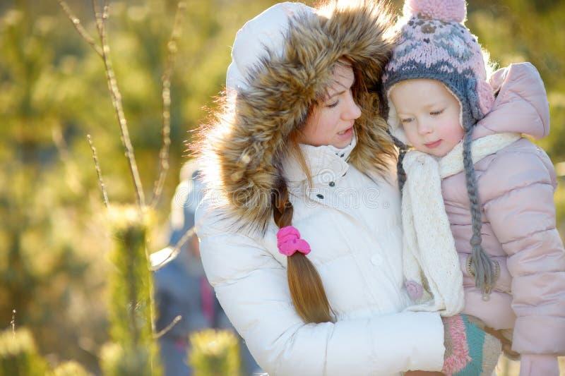 年轻母亲和她的女儿在冬天 库存图片