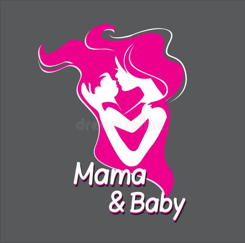 母亲和她的婴孩剪影 库存例证