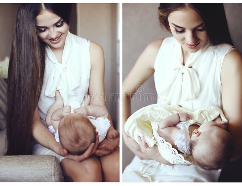 母亲和她美丽的矮小的婴孩嫩照片拼贴画  库存图片