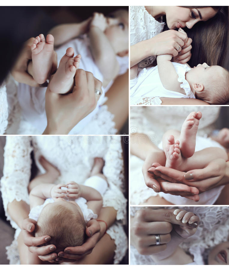 母亲和她美丽的矮小的婴孩嫩照片拼贴画  免版税库存照片