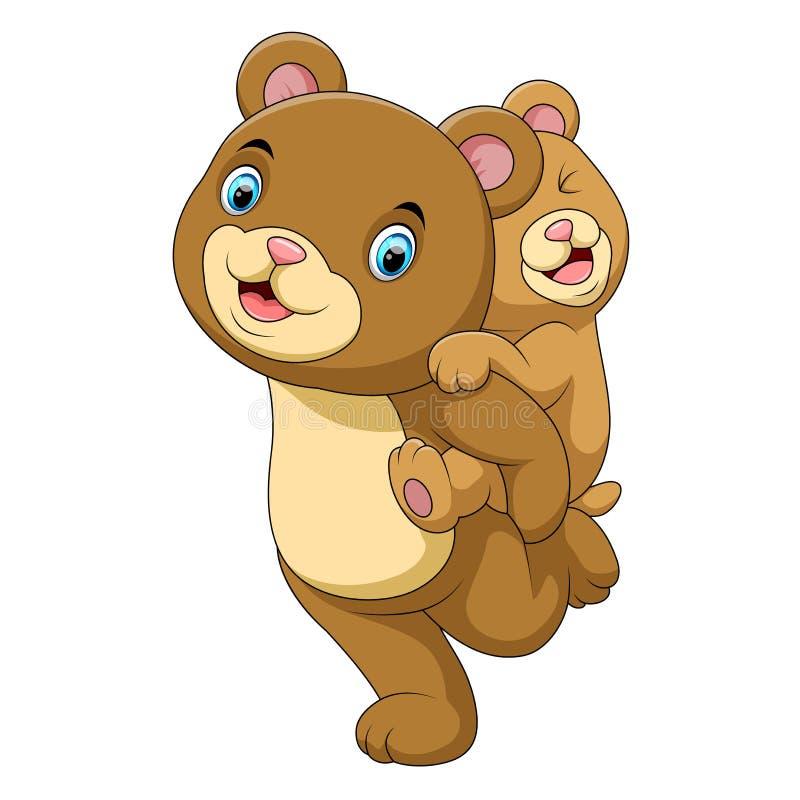母亲和婴孩熊动画片 向量例证