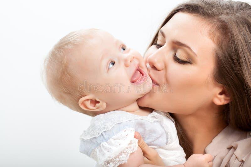 母亲和婴孩特写镜头纵向 库存照片