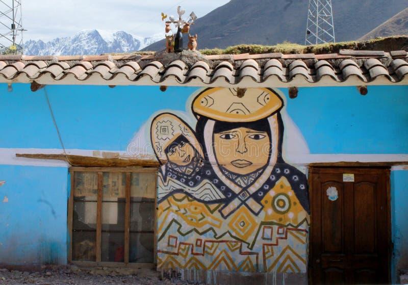 母亲和孩子的秘鲁壁画 免版税库存图片