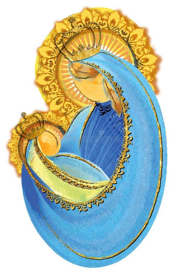 母亲和孩子,有小的耶稣保佑的圣母玛丽亚加冠了 向量例证