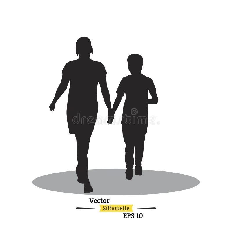 母亲和孩子黑暗的剪影白色背景的 他们去拿着手平的例证EPS 10 库存例证