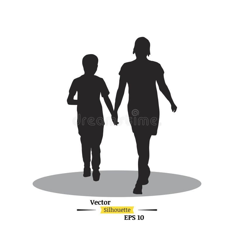 母亲和孩子黑暗的剪影白色背景的 他们去拿着手平的例证EPS 10 向量例证