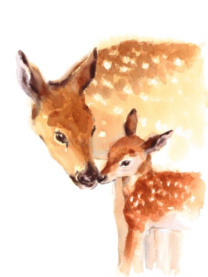 母亲和小鹿水彩爱在白色背景隔绝的家庭手画母亲` s天夏天例证 库存例证