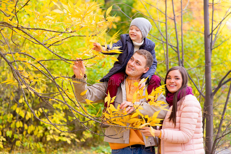 母亲和父亲有年轻儿子的肩膀秋天公园的 免版税库存照片