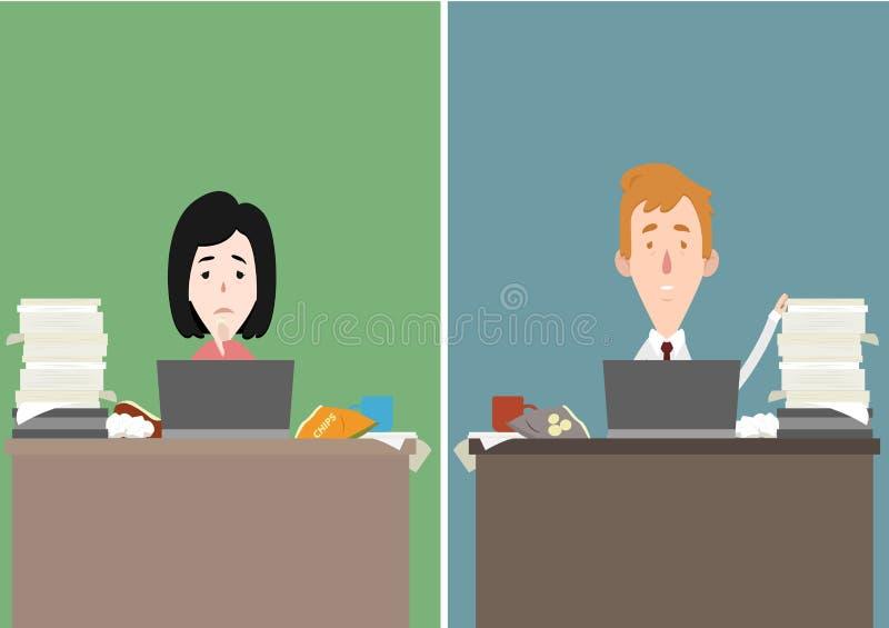 母亲和父亲被注重在工作漫画人物例证 向量例证