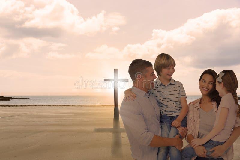母亲和父亲运载的孩子的综合图象在白色背景的 库存图片