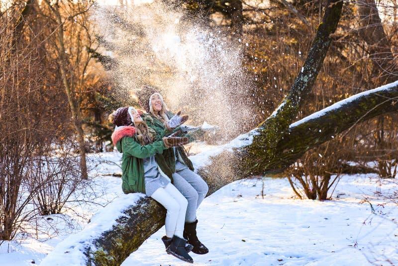 母亲和年轻女儿有乐趣,使用的,投掷的雪用手和笑在冬天木头自然 免版税库存图片