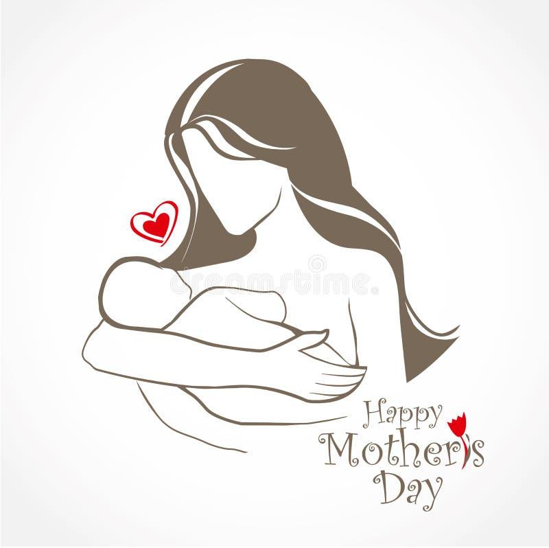 母亲和婴孩风格化传染媒介标志 库存例证