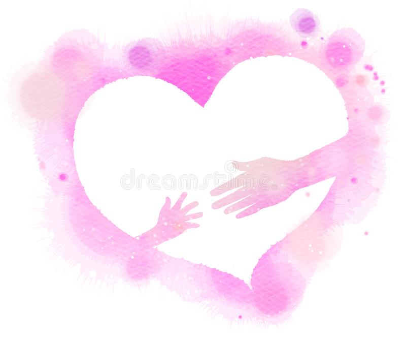 母亲和baby& x27剪影; 在桃红色心脏,水彩的s手 向量例证