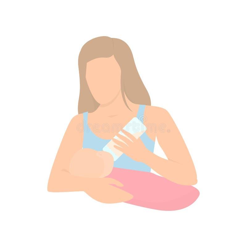 母亲哺养的婴孩用在瓶的牛奶 母亲节,吮,母性 哺乳期传染媒介例证 向量例证