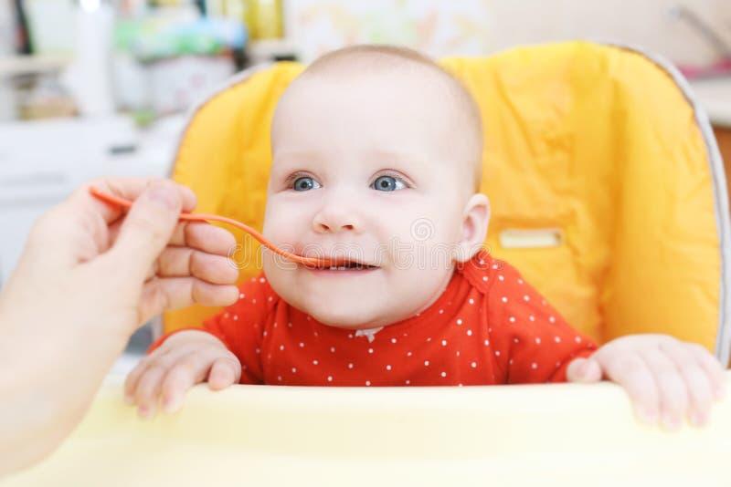母亲哺养她小的6个月女儿用蔬菜泥 库存照片