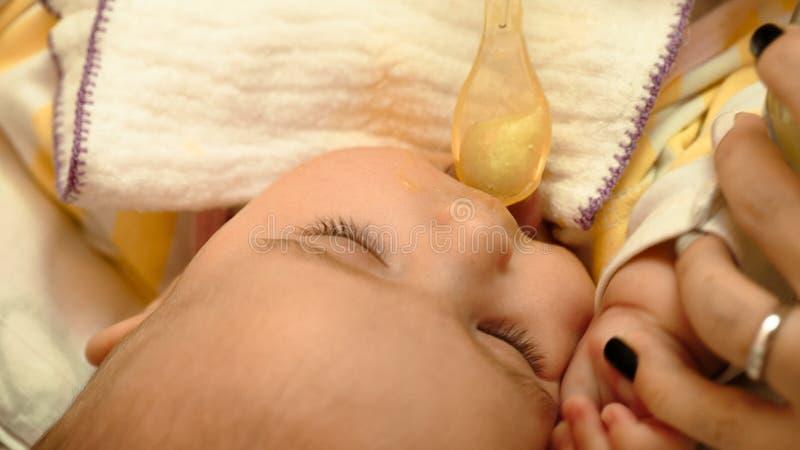 母亲哺养她的与匙子的小孩婴孩纯汁浓汤 免版税库存照片