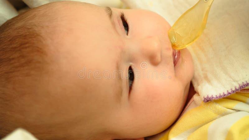 母亲哺养她的与匙子的小孩婴孩纯汁浓汤 图库摄影