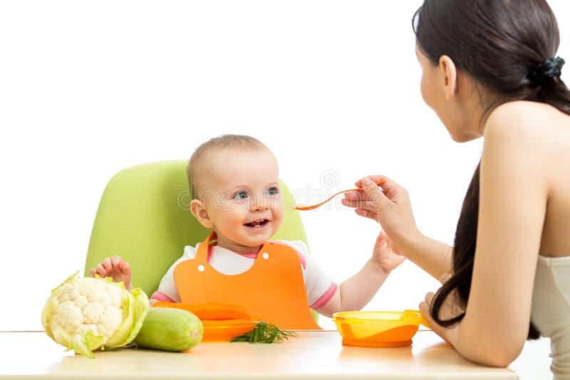 母亲哺养的女婴 免版税库存照片