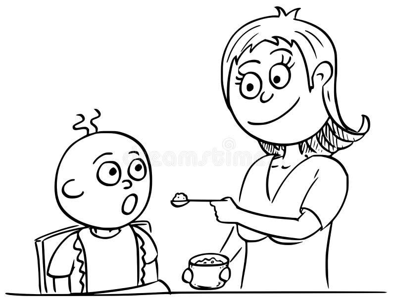 母亲哺养的婴孩的动画片例证 皇族释放例证