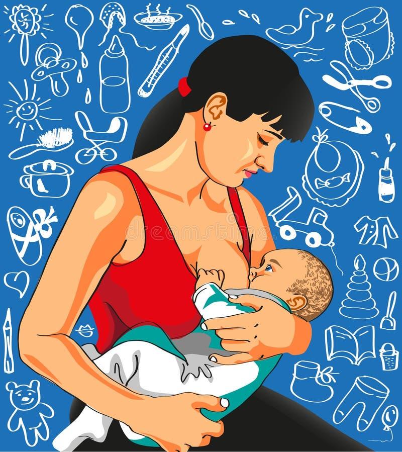 母亲喂养婴孩。 免版税库存图片