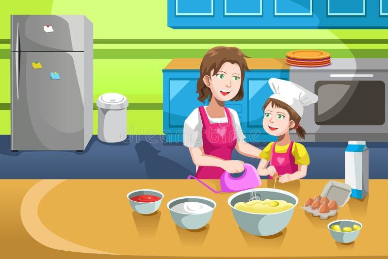 母亲女儿烘烤 库存例证