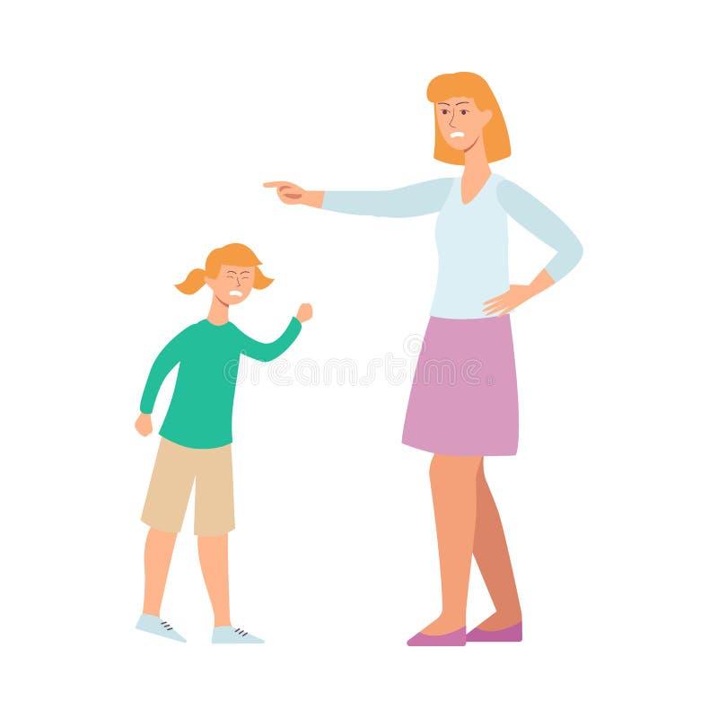 母亲恼怒对她的孩子,与设法的妇女的卡通人物冲突磨练少女 库存例证