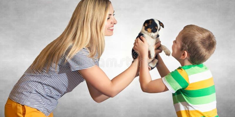 母亲提出她的儿子小狗 一条无家可归的狗的一个家庭 儿童的梦想的履行 免版税库存照片