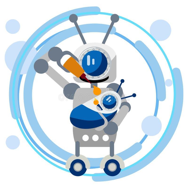 母亲机器人喂养有油的婴孩设备的 在最低纲领派样式 平的等量传染媒介 向量例证