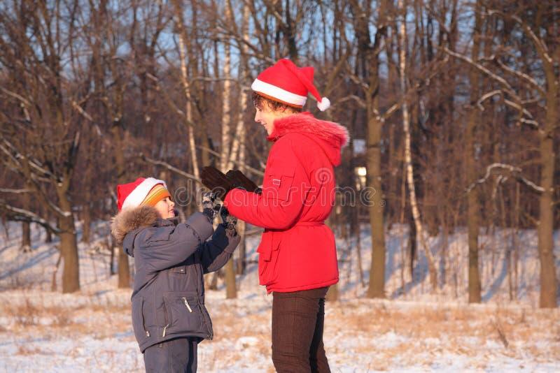 母亲演奏儿子冬天 库存图片