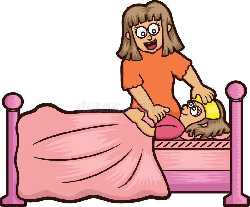 母亲照料她不适的女儿动画片 向量例证