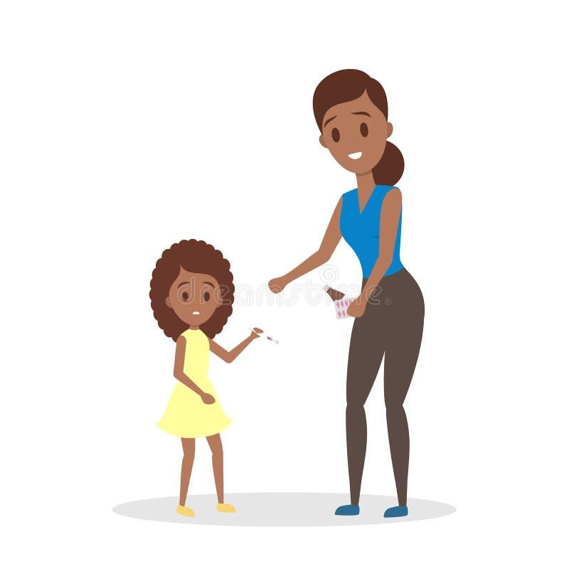 母亲照顾一个病的女儿 库存例证